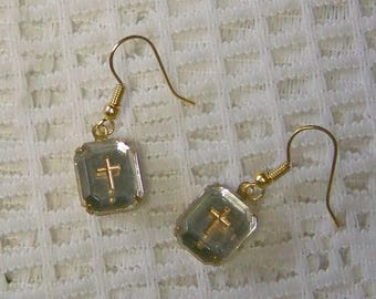 Gold Cross Intaglio Earrings Confirmation First Communion Crystal Glass Earrings Religious Earrings Vintage Intaglio Gold Plated Earrings