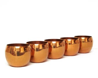 Vintage Coppercraft Guild Cup Collection of Five, Candle Cups, Succulent Cups, 1970s