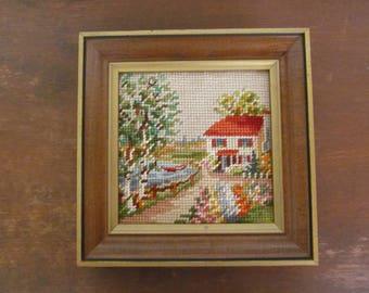 Vintage Needlepoint of Springtime Cottage, Completed and Framed, 1960s
