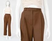 Vintage Brown Kashmir Wool Pants | size 28 waist | High Waist Pleated Front Minimalist Cashmere Slacks Trousers | Medium M 8