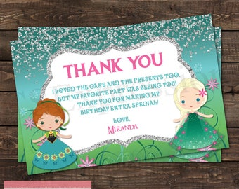Winter Princess Birthday Party Thank you Card