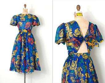vintage 1980s dress / rose print open back 80s dress / silk chiffon / small s