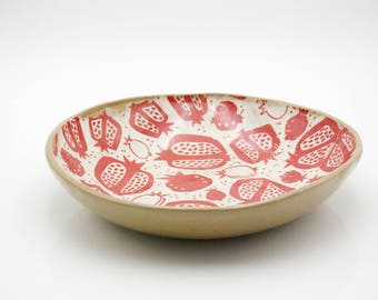 Large ceramic bowl - Ceramic serving tray - Pottery platter - Large fruit bowl - Pomegranete bowl - wedding gift - housewarming gift
