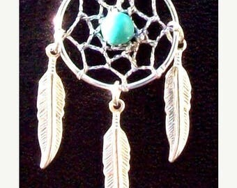 SALE BLUE SKY ll -Dream catcher necklace with Turquoise, dreamcatcher necklace, silver feathers