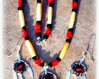 SALE DREAMCATCHER necklace, earring set, Native made dream catcher jewelry, Native Americn, tribal, Boho, red coral, Elk bone, black and red