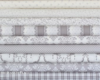 9 Fat Quarter bundle LILY and WILL REVISITED by Bunny Hill Designs  Moda  Gray Colorway
