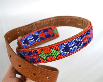Vintage Leather Seed Bead Native American Southwest Belt
