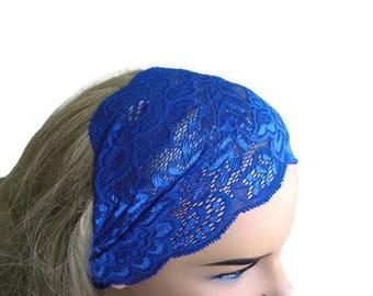 Light Cobalt blue Stretch Lace Headband, Bridesmaids Hair Wrap-Summer fashion headbands-Lace headbands (0030)
