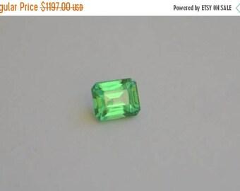 SALE Neon Green Tsavorite Emerald Cut 1.33 Cts