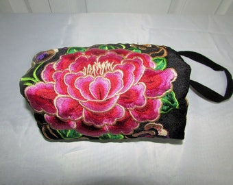 Vintage Peony and Rabbits Cloth Embroidered Pouch, Clutch or Cosmetics Bag