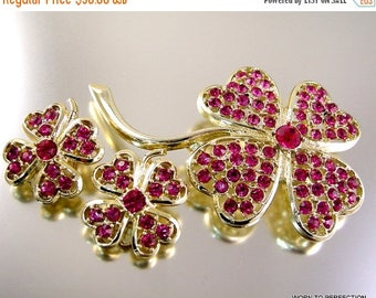 45% off Sale Sarah Coventry Pink Ice Rhinestone Brooch and Earring Set