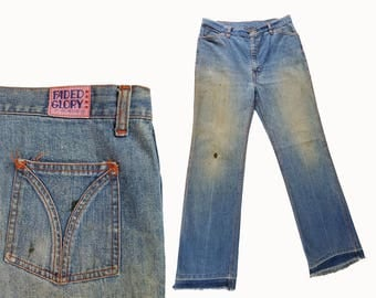 1970s Vintage Denim Jeans Mens Vintage Jeans Hippie Bell Bottom Jeans / Faded Glory Denim Jeans 70s Bells Bottoms 34 W X 33 L Vintage Denim