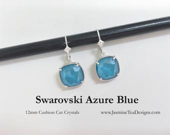 Azure Blue Swarovski Earrings, 12mm Cushion Cut Azure Blue Crystals, Set In Silver Plate Setting With Sterling Lever Back Ear Wires