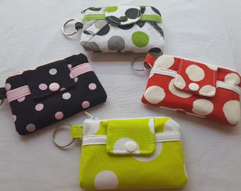 On Sale Zipper Mini Wallet Pouch Key Chain Card  holder Polka Dots Black Lime Green Red Gray
