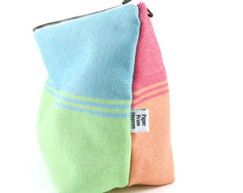 Small Everything Bag - Rainbow - babywrap project bag travel bag wide bottom zipper pouch cosmetic case Bible Journal Bag diaper clutch