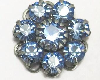 Rhinestone Bead Swarovski Light Sapphire Blue Crystal rhinestone flower silver setting