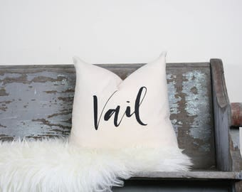 "18""x18"" Natural Colored Linen with Black Ink ""Vail"" Pillow Cover 