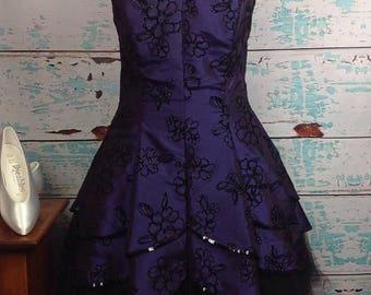 SALE Vtg 90s Masquerade Purple Taffeta Tulle Velvet Prom Dress 16/17 XL Extra Large VGUC