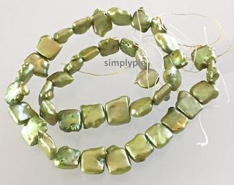 Peridot Green Flat Square Freshwater Pearl Beads Full Strand Designer Beads