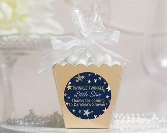 12 Baby Shower Boxes - Baby Shower Favors - Twinkle Star Shower Favors - Personalized Shower Favors - Gold Favor Boxes - Candy Favor Boxes