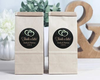 12 Brown Kraft Favor Bags - Coffee Favor Bags - Personalized Favors - Bridal Shower Favors - Coffee Favors - Thanks a Latte - Wedding Favors