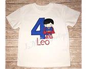 Personalized Superhero shirt - Superman birthday shirt - Super boy Applique Shirt with number- Superboy birthday shirt - Super boy shirt