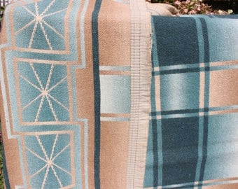 Camp Blanket Cotton Beacon Esmond  Era  Ombre Plaid Geometric Design Blue Green Tan Trade Western VINTAGE by Plantdreaming