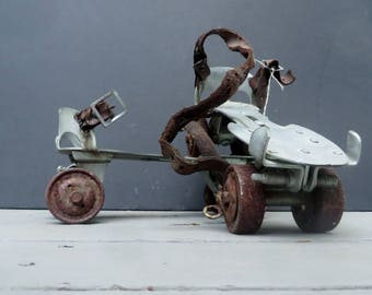 Vintage Metal Roller Skates Rusty Old