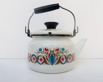 Mid Century Teapot Berggreen Enamelware Tea Pot
