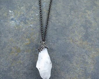 Raw Quartz Pendant, Raw Crystal Necklace, Quartz Necklace, Pave Pendant, Crystal Necklace, Healing Crystal Necklace