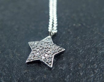 Star Necklace, Pave Star, Diamond Star Necklace, Sterling Silver, Star Jewelry, Astronomy Gift, Luxury Necklace