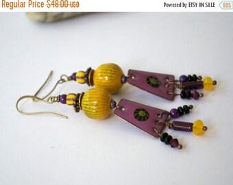 SALE Artisan Enamel Earrings, Pink Earrings, Boho Chic, Gypsy Hippie Earrings, Sunny Yellow Earrings, Copper, Beaded Fringe, Enamel Jewelry,