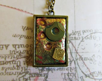 Steampunk Brass and Polymerclay Number 12 Necklace