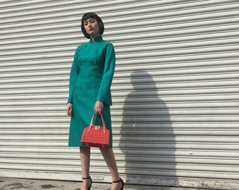 1960's Green Cheongsam Wool Dress