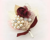 Wedding Groom Boutonniere Burgundy Rose Champagne Ivory Corsage Brooch Boutonniere Mother of the Bride Groomsmen Boutonnieres
