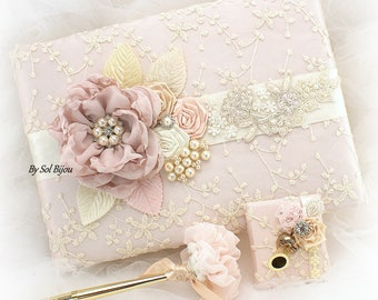 Wedding Guest Book,Rose Gold, Champagne, Cream, Ivory,Bridal Shower,Lace Guest Book,Anniversary, Signature Book, Pen, Sign in Book, Elegant