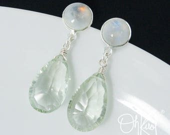 Silver Rainbow Moonstone & Green Amethyst Teardrop Earrings - Summer Hues