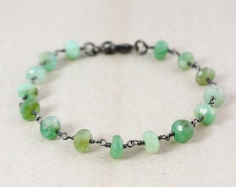 ON SALE Green Chrysoprase Beaded Bracelet – Choose Your Charm