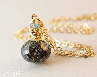 ON SALE Gold Black Rutile Quartz Necklace - Tourmalinated Quartz - Blue Aquamarine, 14K Gf