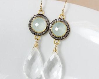 ON SALE Gold Aqua Chalcedony & Crystal Quartz Teardrop Earrings - Bridal Earrings