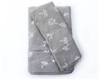 Gray Bedsheet Set Flat Sheet Pillowcases Bedding Cotton Block Printed Handmade Home decor housewares, home and living, Floral -  Dandelion