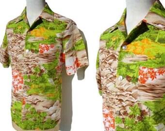 Vintage 70s Shirt Mens Tropical Beach Shirt Sears Full Cut L