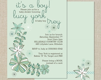 Baby Boy Shower Invitation - Flowsers, Succulents in Fresh Mint Digital Printable File