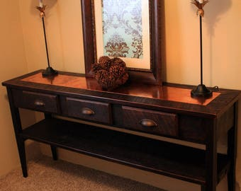 RESERVED for jada261 /// Custom Large Console Table. Copper Centerpiece. 55 l x 15 d x 30 w, Dark Brown Finish.