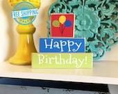 Happy Birthday Stackers- Happy Birthday Blocks, Birthday Wood Sign, Birthday Sign, Birthday Decor, Birthday Decorations, Birthday Balloons