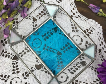 Jewelry Tray, Blue Textured Bottom with Seedy Texture Clear with Opaque Iridescent Corners Glass