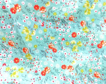 Quilt Cotton Fabric Retro Child Japanese Floral Red Flower in light Turquoise Fat Quarter Half Yard or Yard