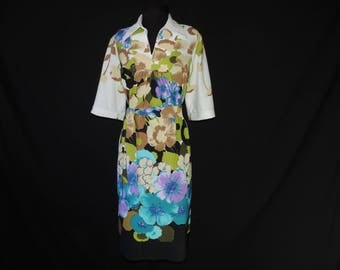 1970s floral tunic dress vintage turquoise island flower plus size belted tunic XL