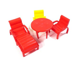 Marx Patio Set Red and Yellow Dollhouse  Vintage 1950s Hard Plastic Doll House Furniture Chaise Lounge and Chairs