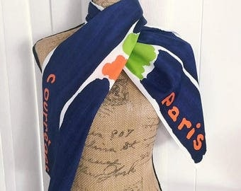 40% OFF Christmas in July Fabulous Vintage designer Courreges Paris long scarf in mid century colors